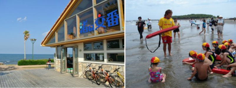 Photo of exterior of the Aoshima Beach Center Nagisa-no-Koban (left); Photo of a lifesaver teaching a course for children (right)