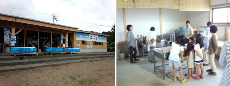 Photo of exterior of the Obama Nagisa-no-Koban (left); Photo of workshop for children (right)