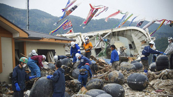 Photo of relief activity in a damaged area