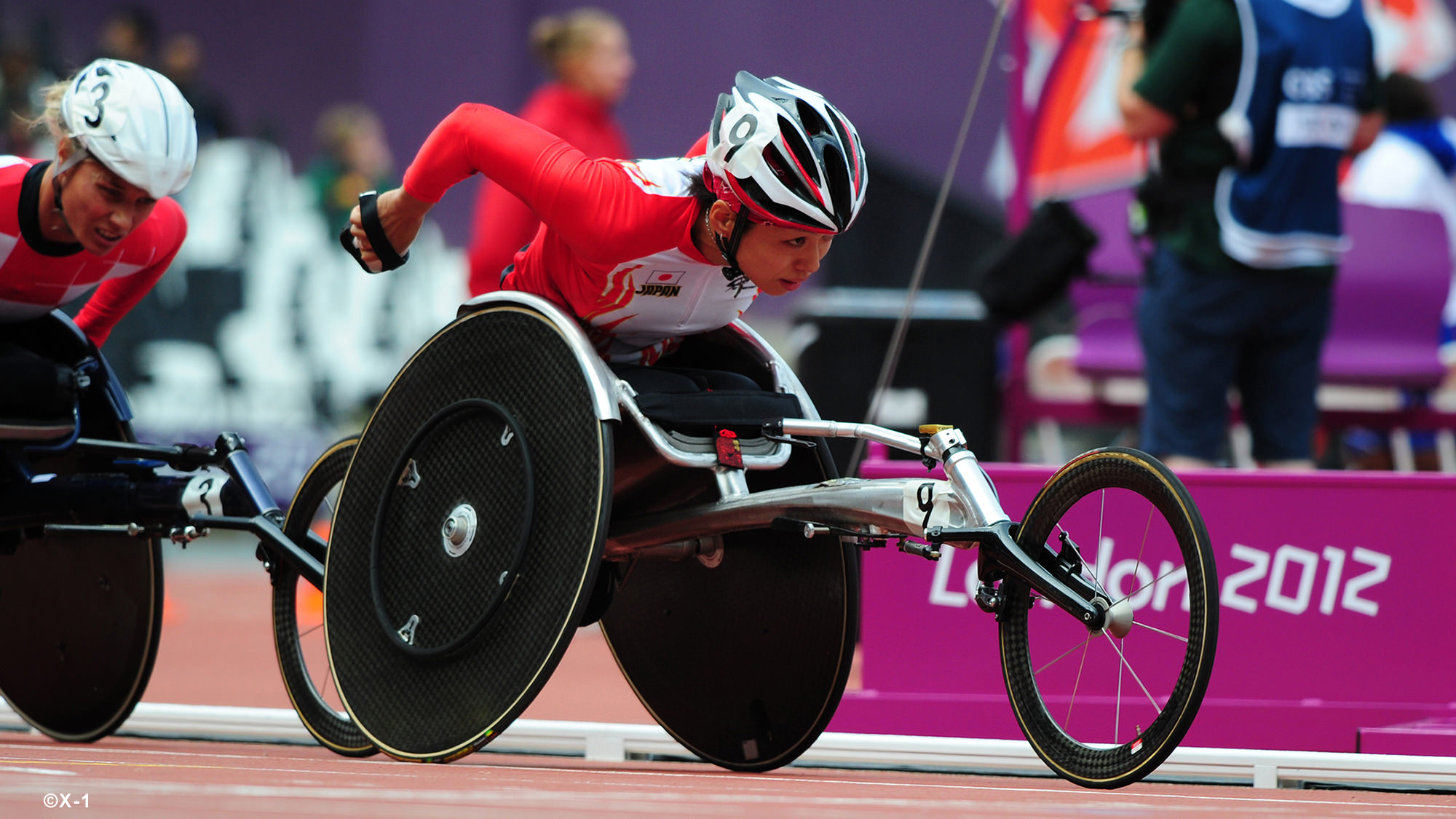 Photo showing wheelchair athletes at the Paralympic Games.