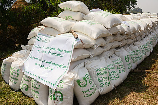 Photo of 65 tons of rice provided by The Nippon Foundation