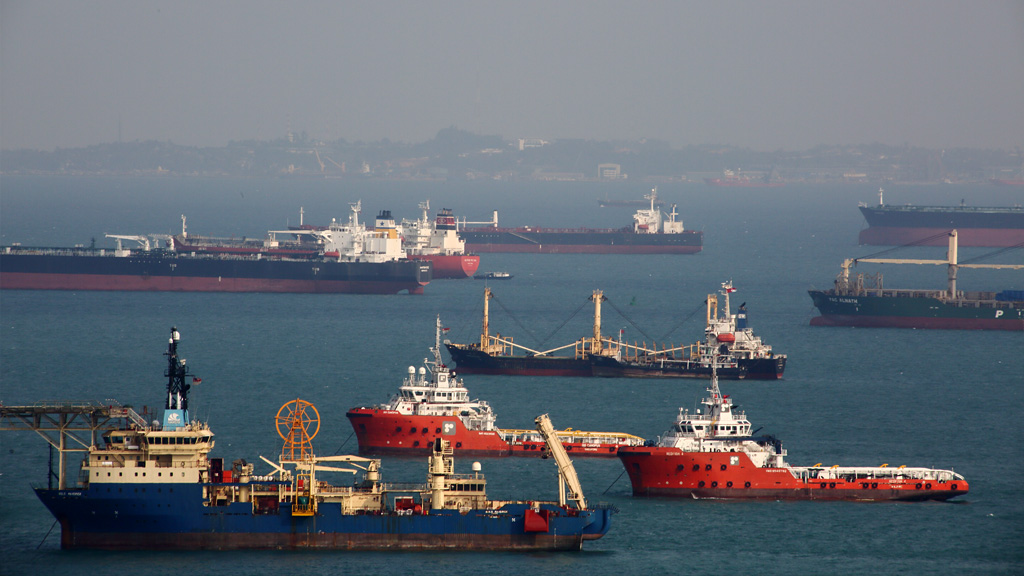 Photo of ships passing through the Straits of Malacca and Singapore
