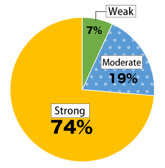 Pie chart showing results of the Awareness Survey of Nikkei Young Adults: Weak – 7%; Average – 19%; Strong – 74%.